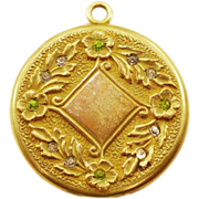 Gorgeous Vintage S. O. Bigney Locket with Sparkly Rhinestones and 14K Gold-Plate