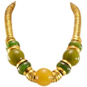 Highly Collectible, Super Stylish Vintage Bakelite and Brass Necklace