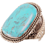 Breathtaking Vintage Navajo Cuff With HUGE Turquoise Centerpiece