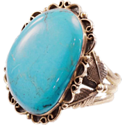 Incredible Vintage Jerry Roan Navajo Cuff - HUGE HUGE Turquoise!