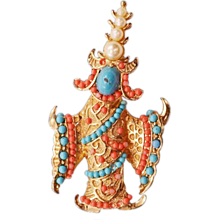 """Extremely Collectible Vintage Boucher """"Siamese Dancer"""" Brooch"""