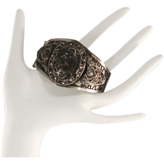 Unique and Exotic Antique Silver Arabic Cuff Bracelet