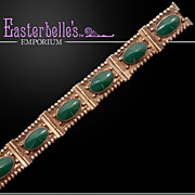 Gorgeous Vintage Mexican Sterling Bracelet With Big Chrysoprase