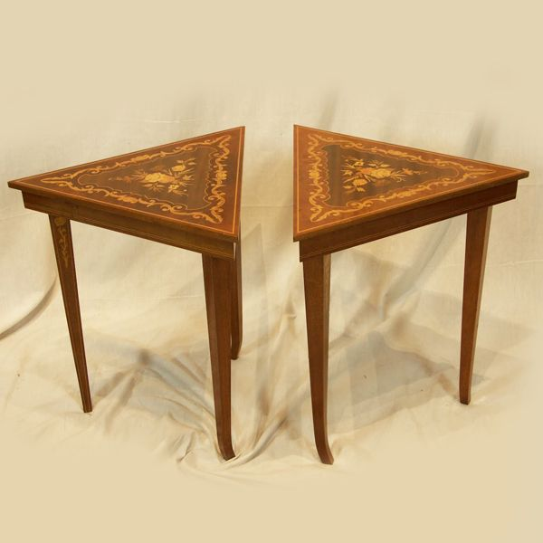 pair of gorgeous vintage reuge musical triangle tables in italian