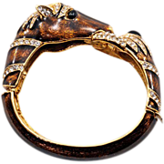 Gorgeous Vintage Signed Ciner Horse Cuff Bracelet - Wonderful Condition