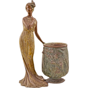 Romantic Antique Bronze-Clad Spelter Female Figure and Cast-Iron Floral Vase