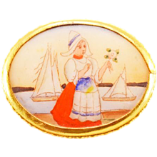 Lovely Antique Hand-Painted Porcelain and 12K G.F. Brooch