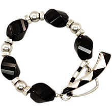 Bold, Dramatic Black Onyx, Freshwater Pearl, and Sterling Silver Artisan Bracelet