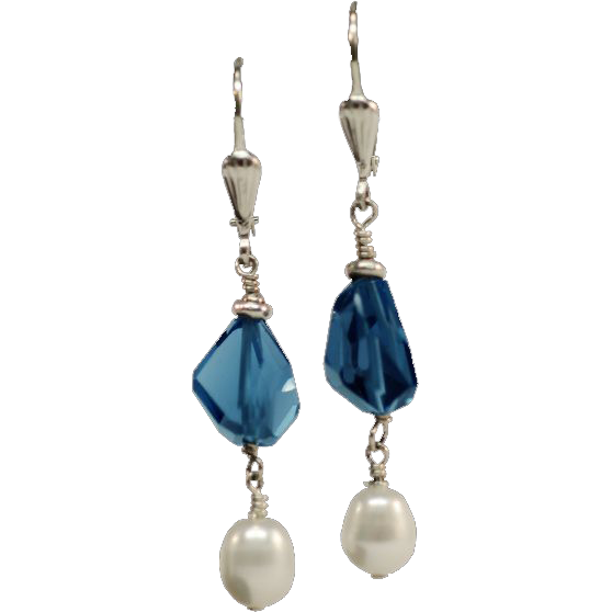 Sweet London Blue Topaz and Freshwater Pearl Earrings