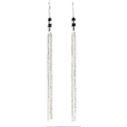 High Drama Sterling Silver and Black Onyx Shoulder Duster Earrings