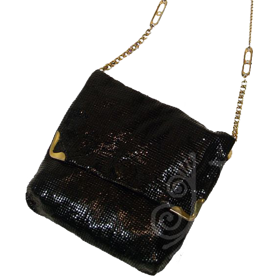 Exquisite Vintage Black Glomesh Evening Bag with Long Chained Strap