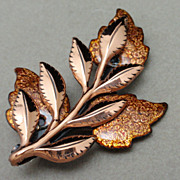 """Laurel"" Pin Vintage Matisse Renoir Copper & Enamel Brooch"
