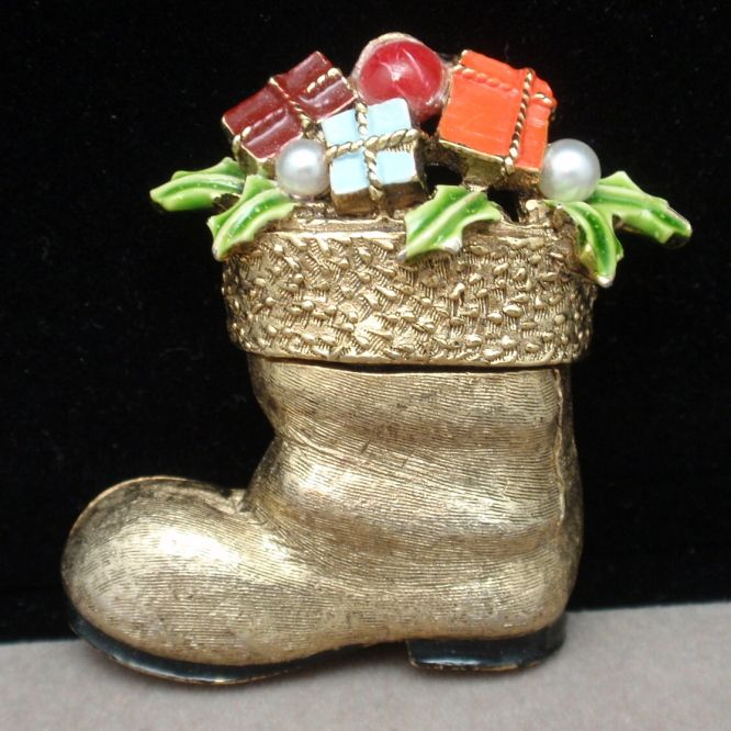 Santa's Boot Filled With Gifts Pin Vintage Christmas Xmas ART