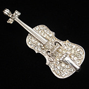 Violin Brooch Pin Vintage Rhinestones Musical Instrument