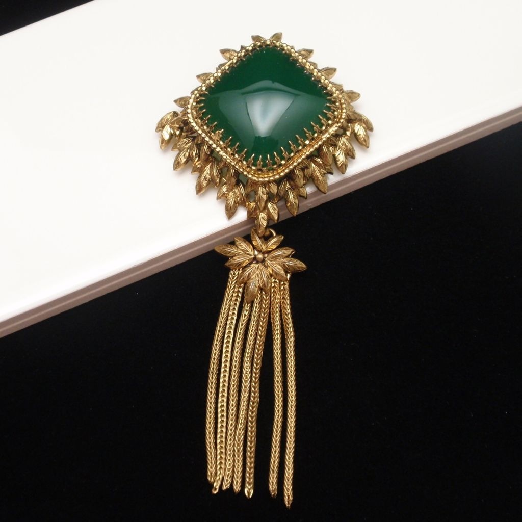 Tassel Brooch Pin with Large Green Stone Vintage