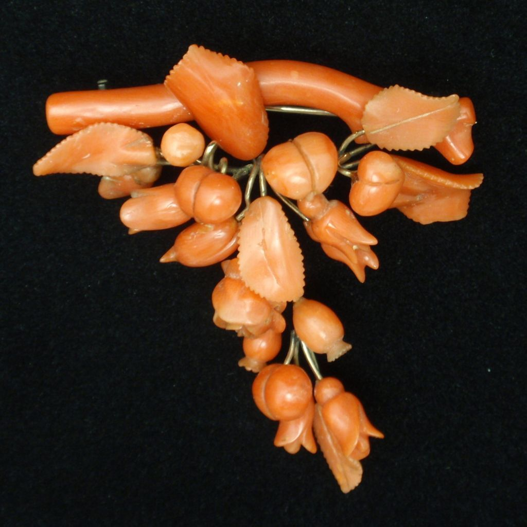 Antique Coral Brooch Pin Cascading Blooms