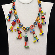 Happy People Necklace Vintage Wood & Glass Colorful