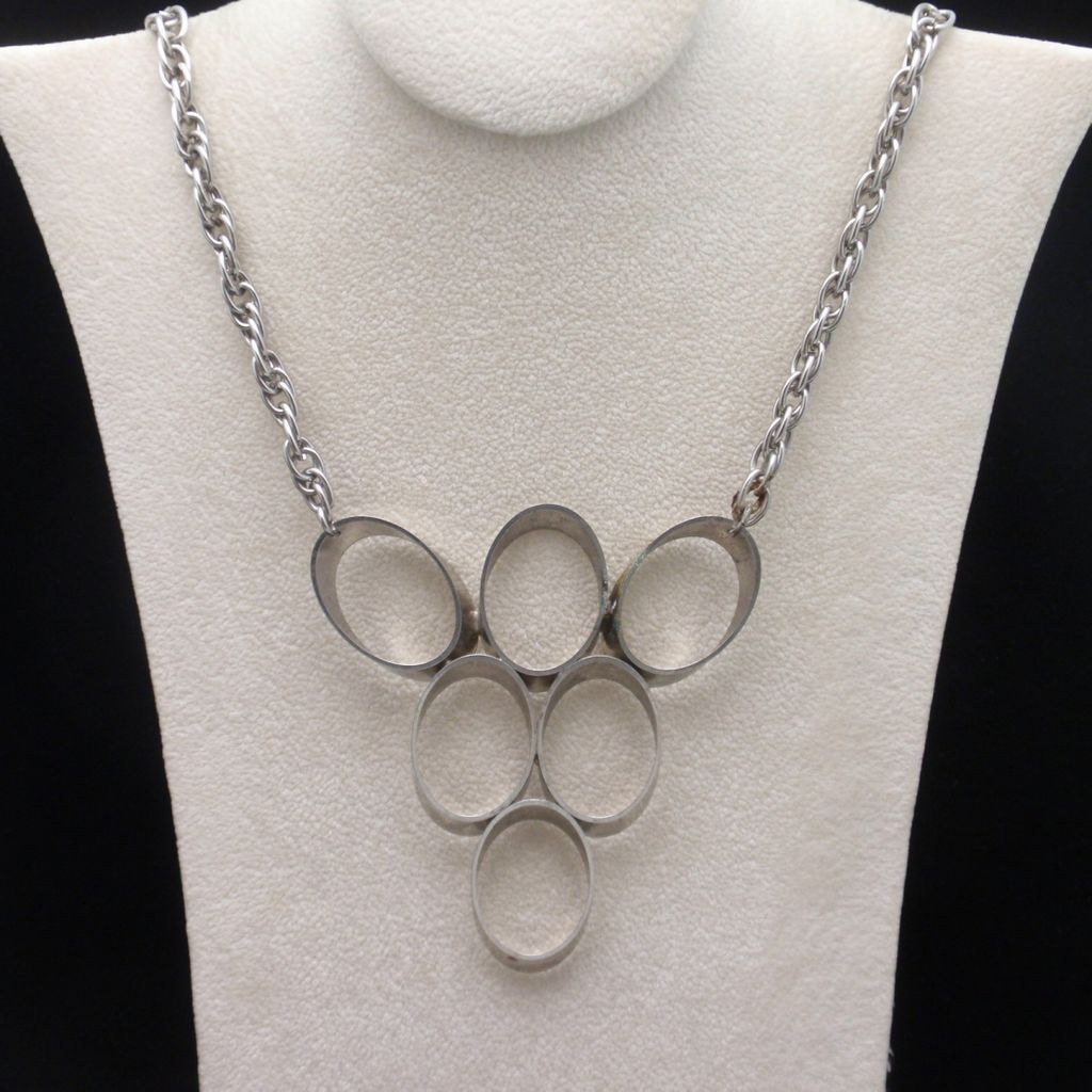 Mod 1960s Statement Necklace Vintage Inverted Triangle with 6 Ovals
