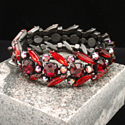 Regency Bracelet Japanned Metal and Red Rhinestones Vintage