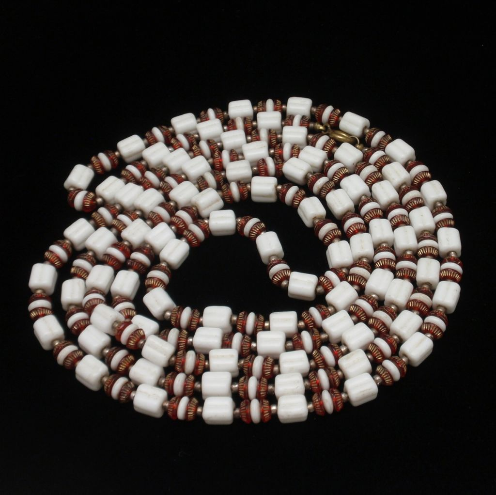 "58"" Flapper Necklace Glass Beads Brick Red & White Vintage"