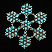 Snowflake Pin Vintage Sterling Silver Turquoise Brooch
