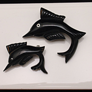 Pair of Black Bakelite Fish Pins Vintage