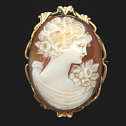 Antique Cameo Brooch Pin Carved Shell Gold Filled Bezel