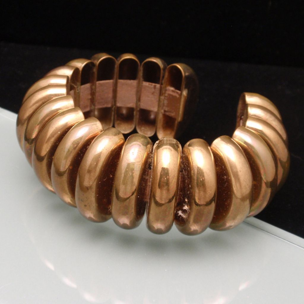 Machine Age Cuff Bracelet Copper over Brass Flexible Vintage