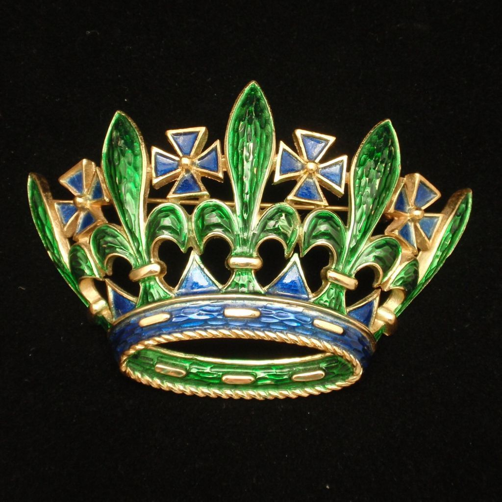 Crown Brooch Pin Enamel Vintage Trifari Large