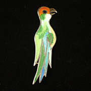 Tropical Bird Brooch Pin Sterling Silver Enamel Eagle 3 Mexico Vintage
