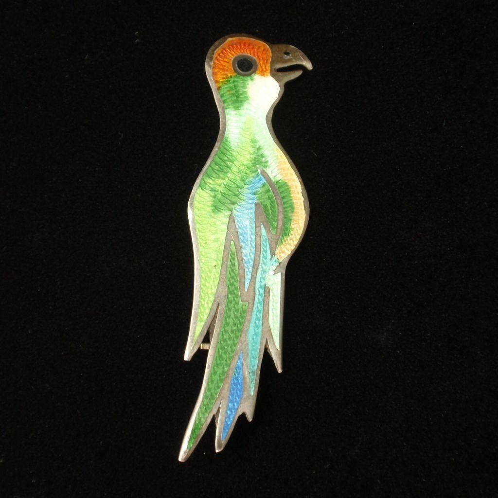 Tropical Bird Brooch Pin Sterling Silver Enamel Eagle 3 Mexico Vintage