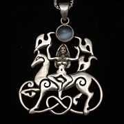 Goddess Rhianna on Horseback Necklace Sterling Silver Moonstone Paul Borda