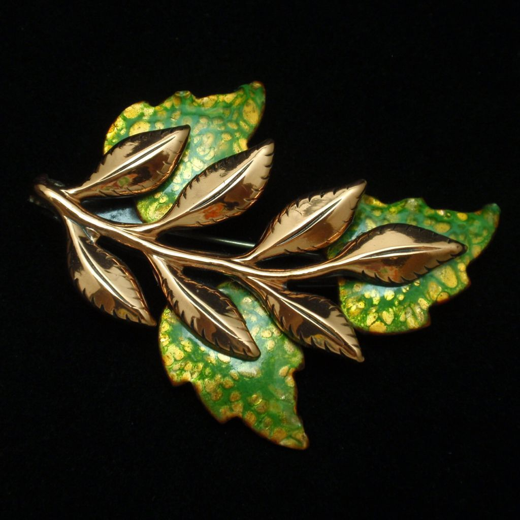 """Laurel"" Leaf Pin Vintage Copper Matisse Renoir Brooch"