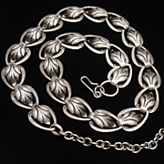 Stylized Leaf Necklace Vintage Silver Tone