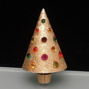 Christmas Tree Pin Vintage Corocraft Xmas Brooch