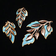 Laurel Leaf Set Matisse Renoir Copper Enamel Pin Earrings Vintage