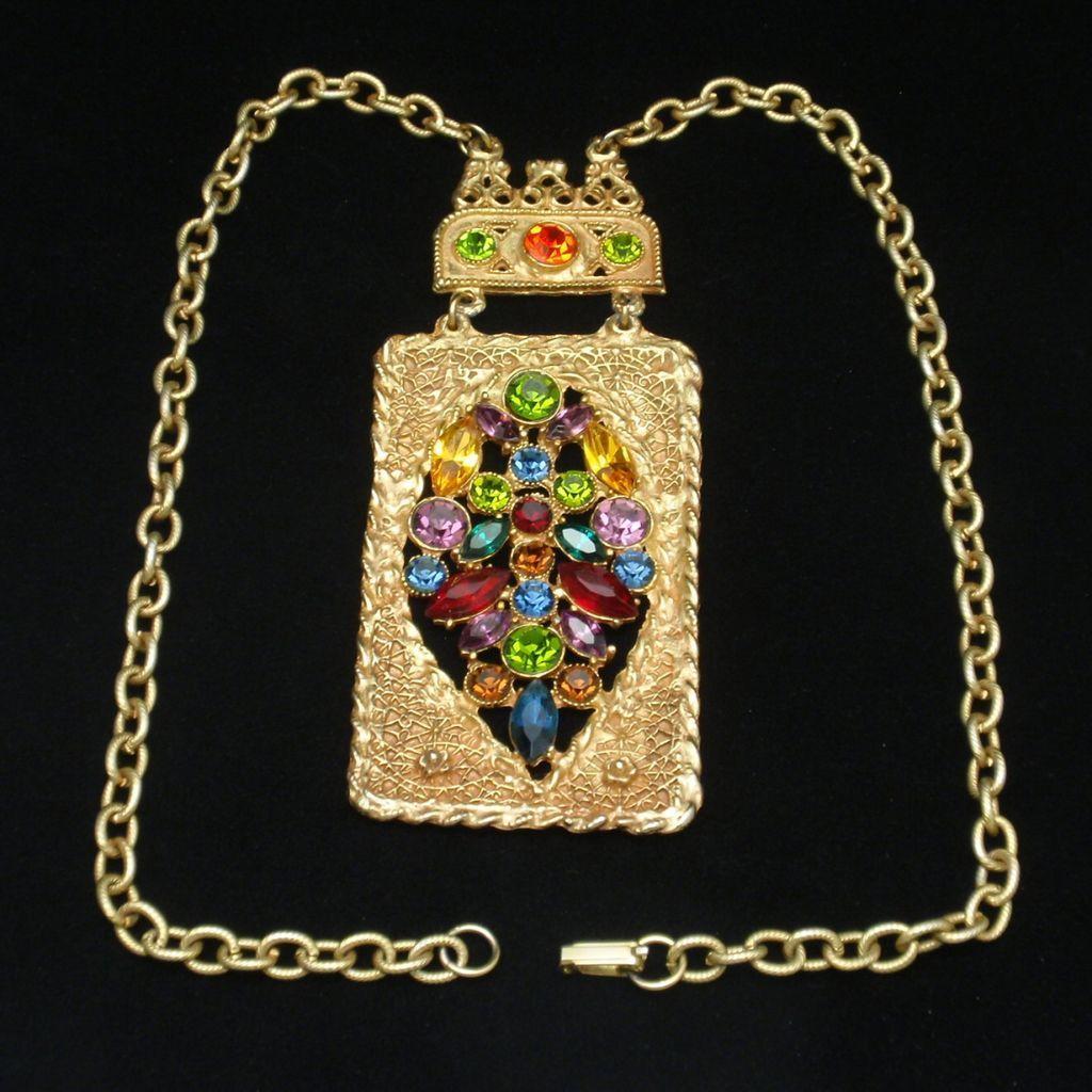Multi-Colored Rhinestone Medallion Necklace Large Ornate Vintage