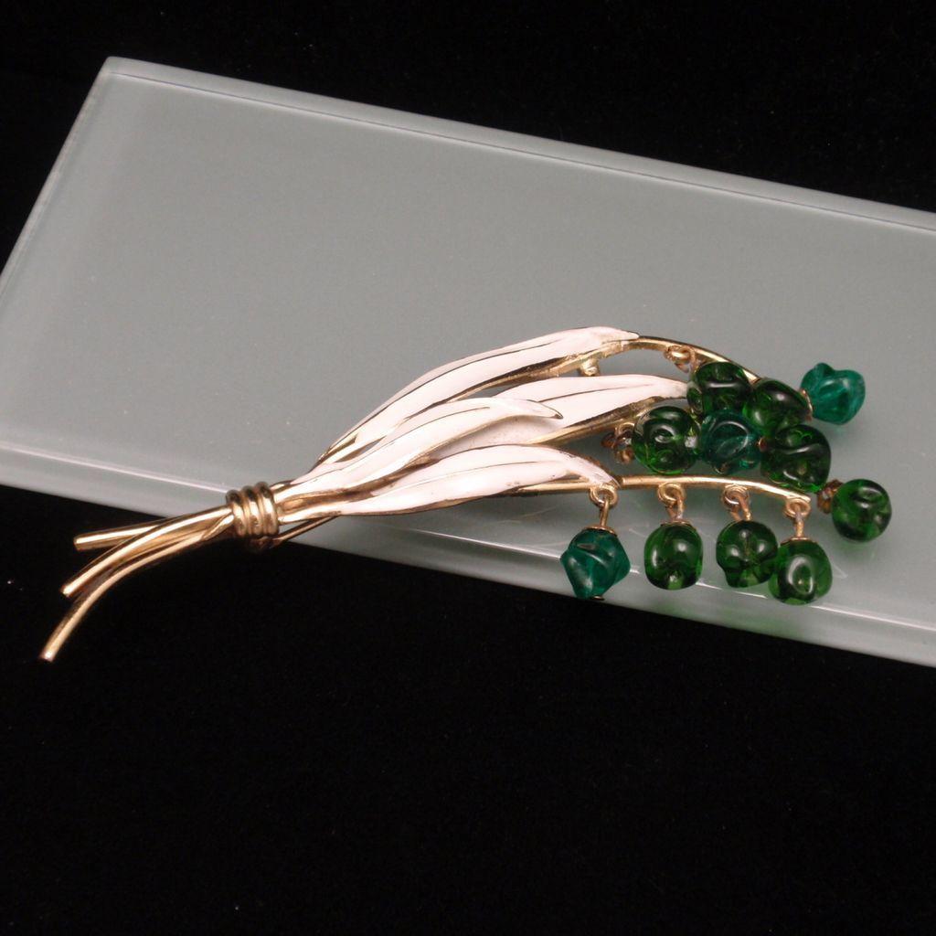 Leaf Berry Flower Buds Pin Vintage Brooch White Enamel Green Glass