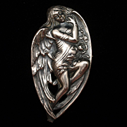 Art Nouveau Angel Brooch Pin Vintage Silver Plated