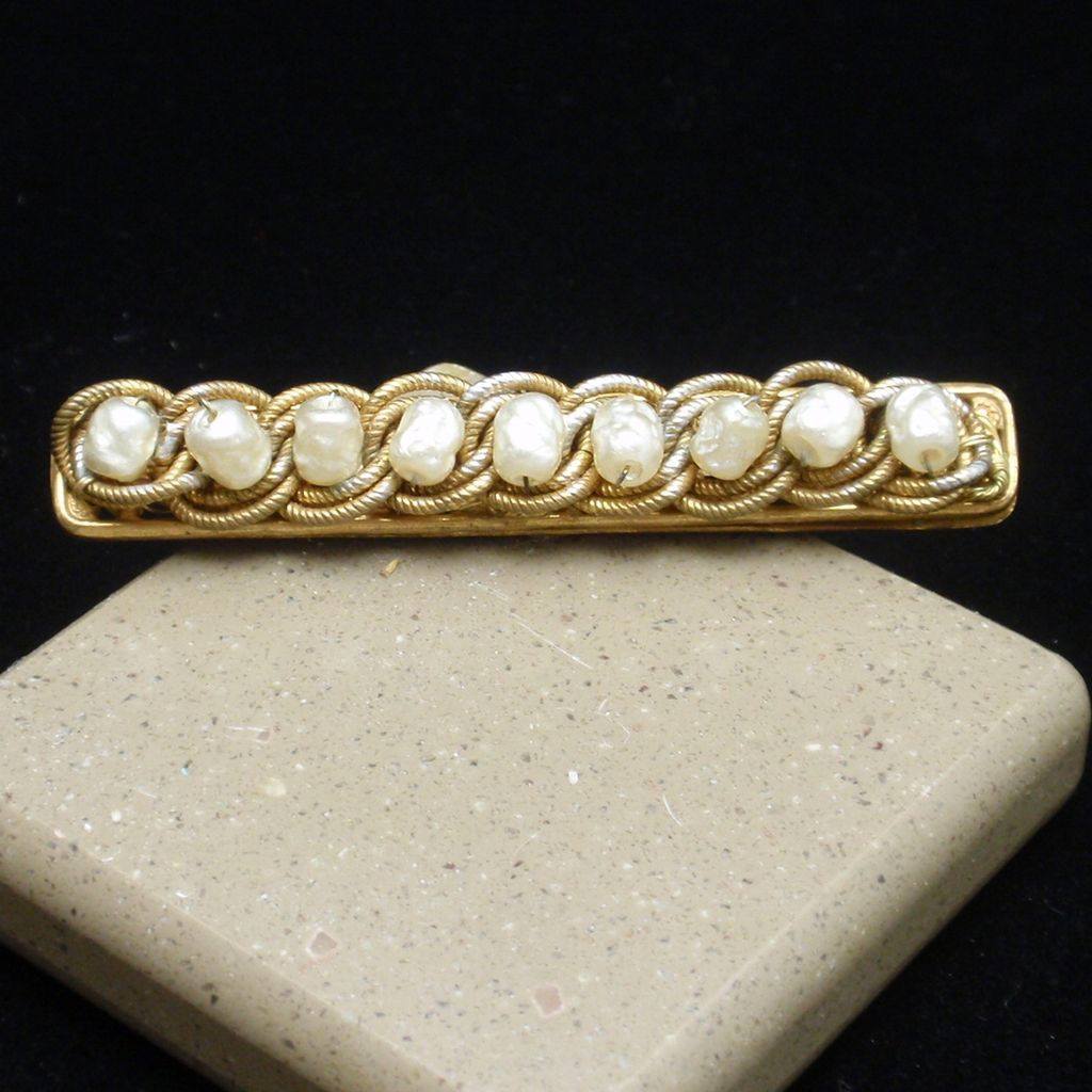 Miriam Haskell Bar Pin Vintage Baroque Pearls