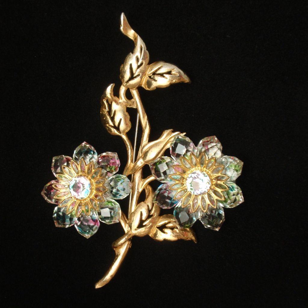 Iris Rainbow Briolette Flower Pin Brooch 1940s Regina