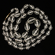 "Faceted Crystal Beads Necklace Vintage 34"" long"