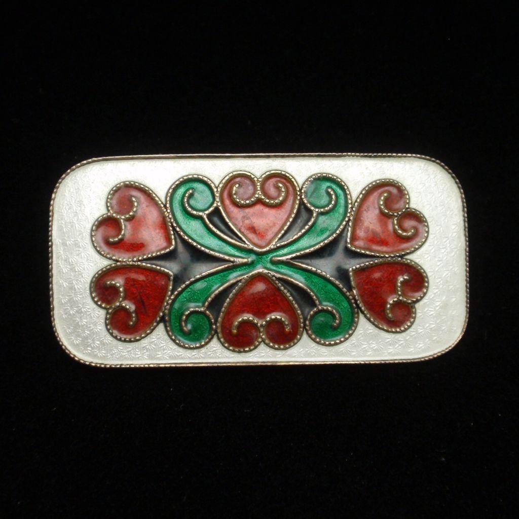 Enamel Pin Vintage Sterling Silver Vivid Colors Norway N.A. Jorgensen Vintage