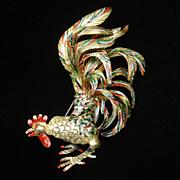 Rooster Pin Vintage Enamel Bird Brooch Dimensional Vintage