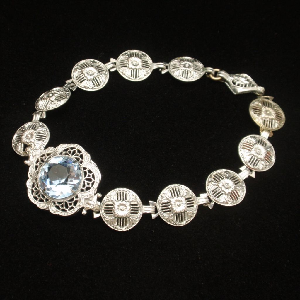 White Metal Art Nouveau Bracelet with Light Blue Stone Vintage
