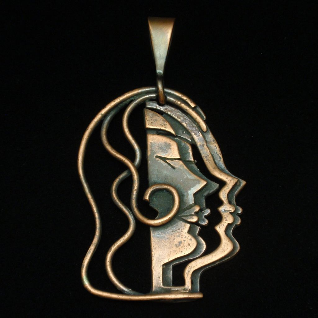Rebajes Woman's Profile Pendant Vintage Copper