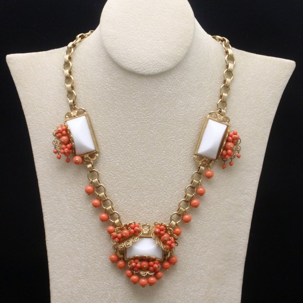Wired Glass Bead Vintage Necklace Coral & White