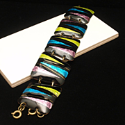 Abstract Modernist Bracelet Foil Enamel Bright Colors