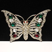 Butterfly Brooch Pin Vintage Rhinestones Pot Metal Large
