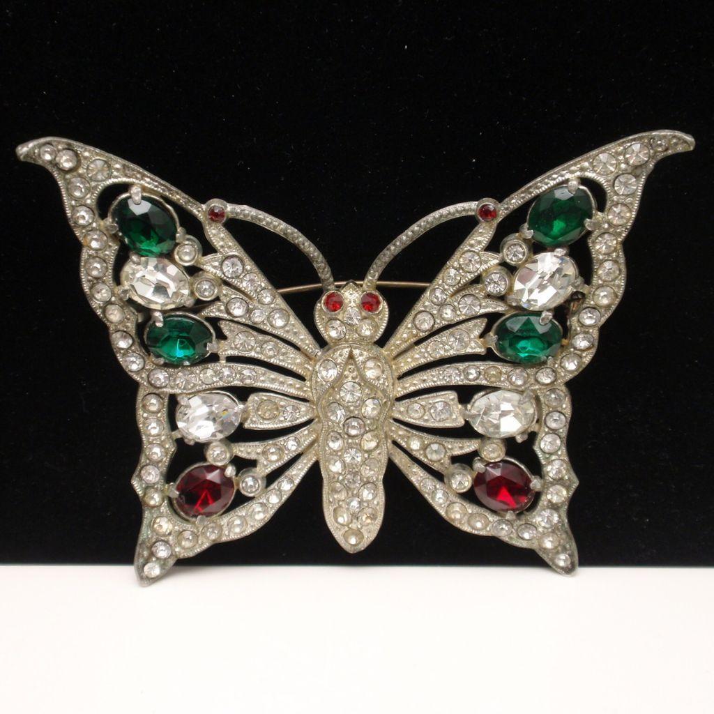Butterfly Brooch Pin Vintage Rhinestones Pot Metal Large